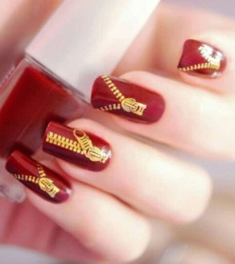 Set in Red Zipper Nails