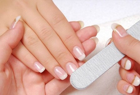 Shaping nails, buffing and polishing them