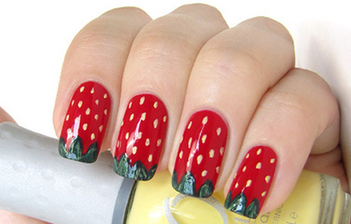 strawberry nail design done - Hot Designs Nail Art Ideas