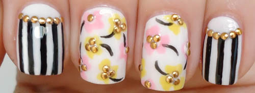 Studded Floral Nail Design