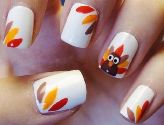 Thanksgiving autumn nail art