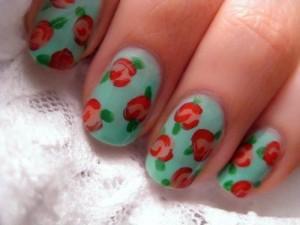 The Vintage Rose Nail Art Design Looks Very Simple ...