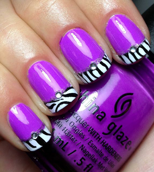 Violet with Zebra Patterned French Tip Nail Art Designs