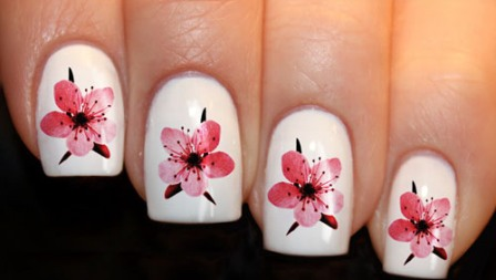 Water Decal Cherry Blossom Design: Mostly ... - 9 Best Cherry Blossom Nail Art Designs Styles At Life