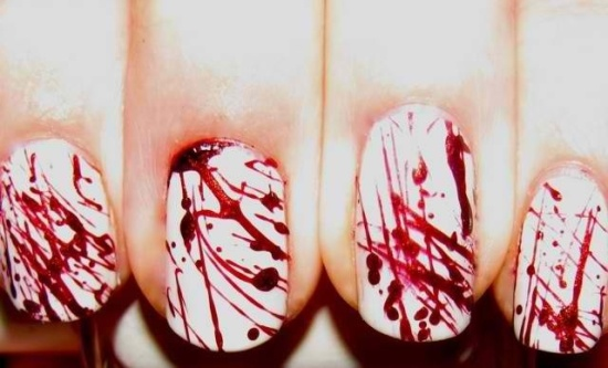 White and Red Nail Paint