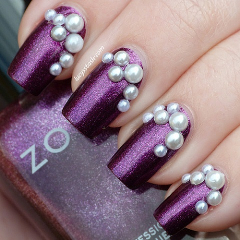 Zoya Nail art with Pearls