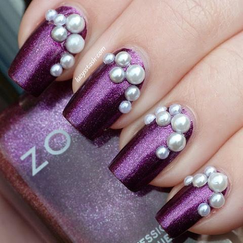 Zoya Nail art with Pearls
