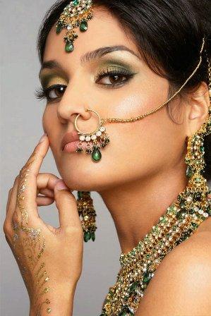 Gold and Green Wedding Makeup Look