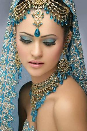 Blue and Gold Bridal Look