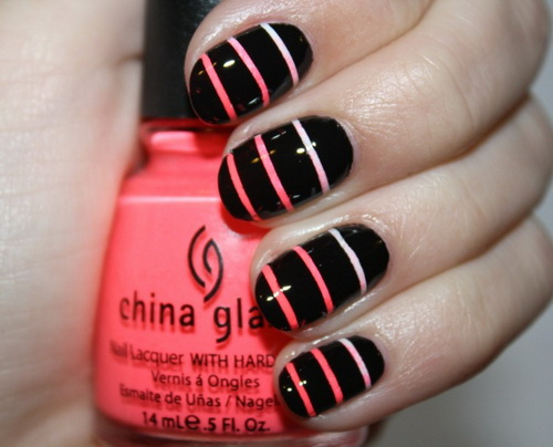 Peach And Black Color Nail Designs Black Nails With Peach Stripe