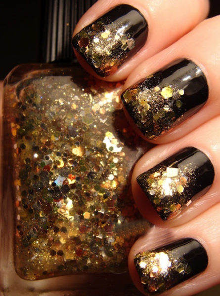 Black and Golden Glitter Nail Paint
