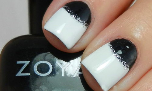 Black And White Glitter Nail