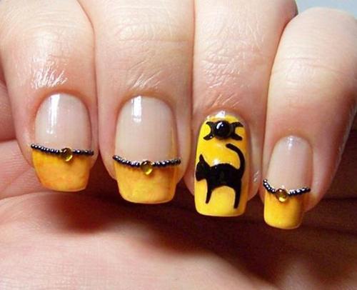 Cat Halloween Nail Art