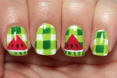 Checkered-Watermelon-Nails