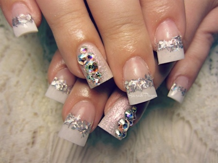 Crystal French Tips Nails: French ... - 9 Best Crystal Nail Art Designs Styles At Life