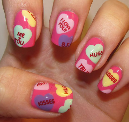 Cute Valentines Day Nail Art