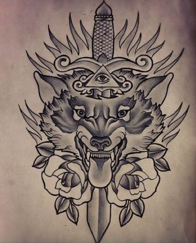 5f569c86d Wolf tattoo meaning ranges from the very simple love for wolf to the most  complex ones much like this one in which a wild number of characters  express ...