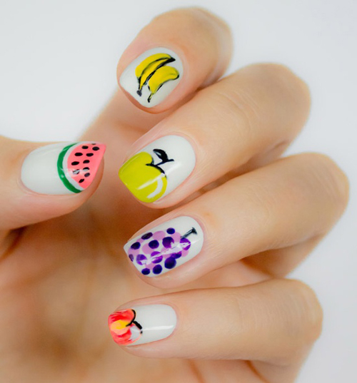 Different Fruits Nail Art Design: - 4 Cute And Easy Fruit Nail Art Designs Styles At Life