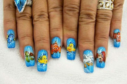 9 simple disney nail art designs styles at life finding nemo nails this prinsesfo Gallery
