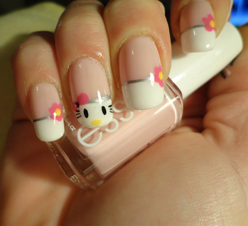 Easy Hello Kitty Nail Art The