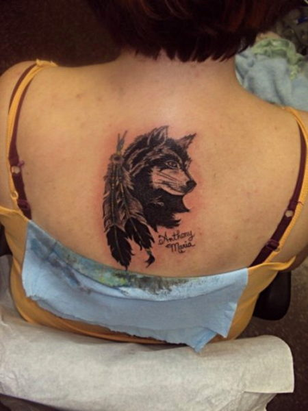 Feather Wolf Tattoo