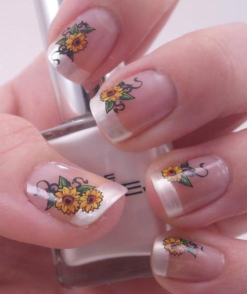 French Manicure Sunflower Nail Art