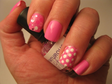 The nail art looks completely girly. Three nails are painted with plain  pink and one nail has the base in pink with white polka dots giving it a  little ... - 7 Best Sonoma Nail Art Designs With Pictures Styles At Life