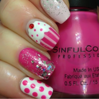 9 beautiful cupcake nail art designs with pictures styles at life glitter glam cupcake nail art design you prinsesfo Image collections