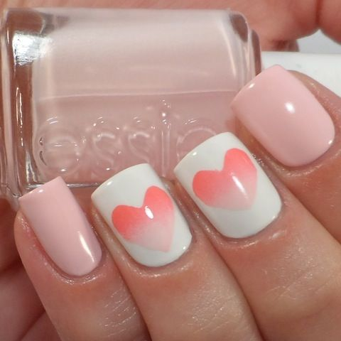 Hearts on the Sponge Nail Art Designs