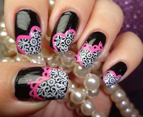 Lacey-Hearts Nail Art Design