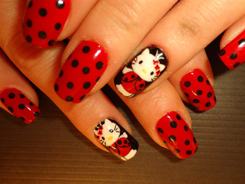 Cute and easy hello kitty nail art designs with images styles at