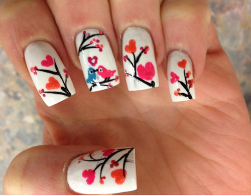 Love Birds Heart Nail Art
