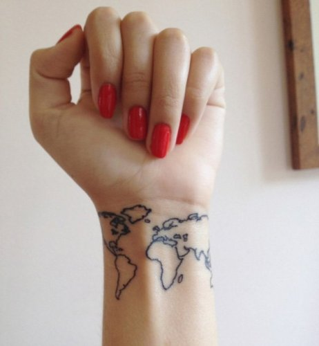 map wrist tattoos