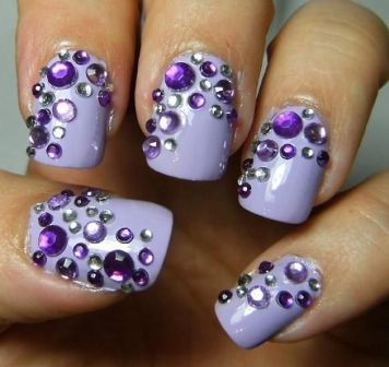 Purple Crystal Nails
