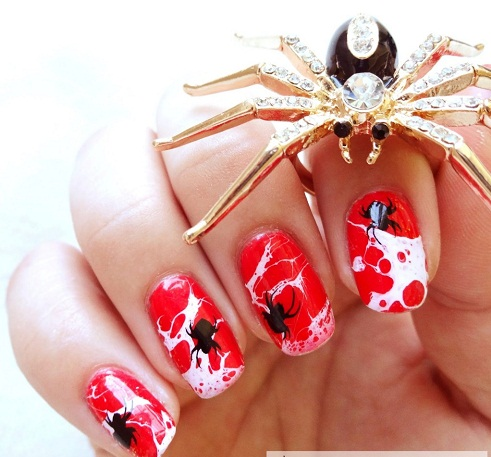 Red Black And White Spider Nail Art