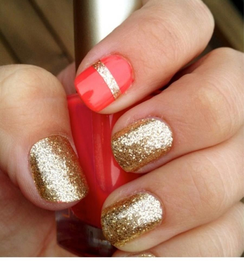 Red and Golden Glitter Nail Art: