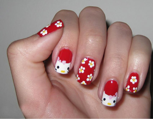 Red with Flowers Hello Kitty Nail Art