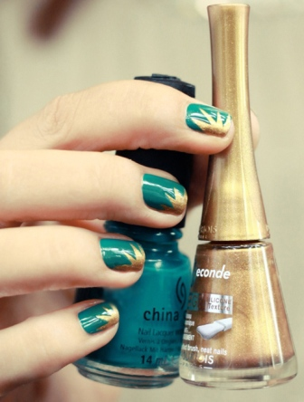 6 best gold nail art designs styles at life sea green golden nail art design you prinsesfo Choice Image