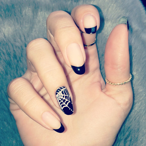 Spider Web Nail Art on One Finger: If ... - 6 Best Spider Web Nail Art Designs Styles At Life
