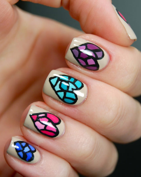 Stained Glass Nail Art: 9 Best Heart Nail Art Designs With Images