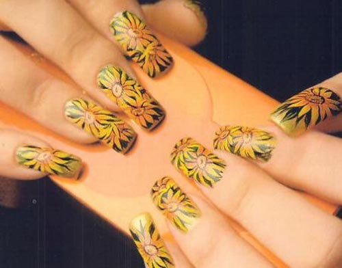 Sunflower Nail Design - 9 Best Sunflower Nail Art Designs With Pictures Styles At Life