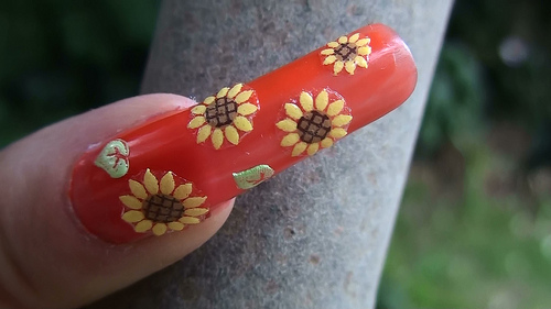 Sunflower Sticker Nail Art