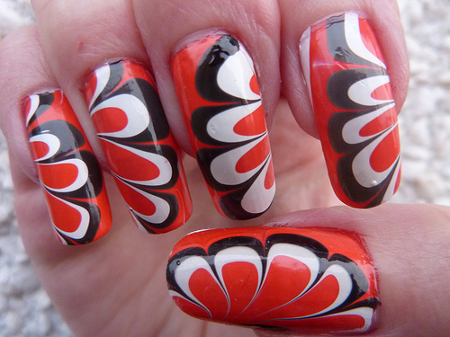 The Poppy Remembrance Day Marble Nail Art