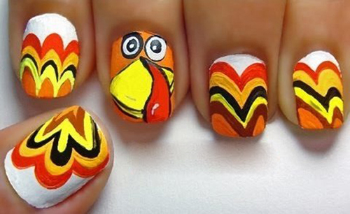 9 easy thanksgiving nail art designs with images style at life turkey feather nail art prinsesfo Gallery