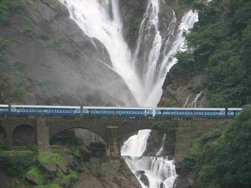 Waterfalls in addition to mountains in Rail Journey