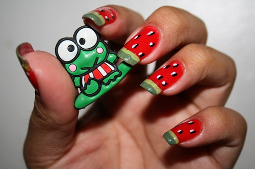 Watermelon Fruit Nail Art