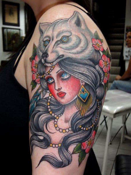 Woman Wolf Tattoo