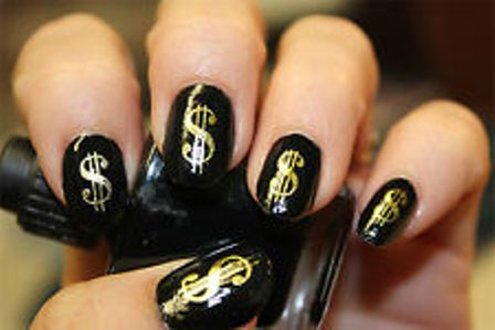 9 best dollar nail art designs styles at life a scattered foil and dollar stud combination nail can be easy to create use golden foil for the nails golden foil looks like gold and expensive in prinsesfo Gallery