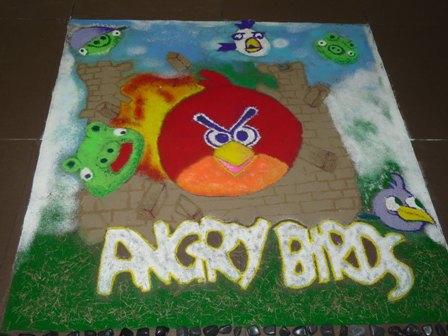 Angry bird rangolis