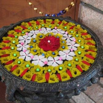 Artificial Flower Rangoli Designs On Water